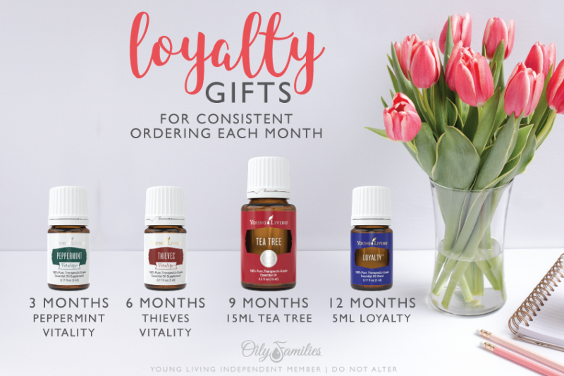 4. MORE REWARDS FOR LOYALTY BUT WAIT! THERE'S MORE! :) No, it's not a cheesy infomercial line. There really is even more to the loyalty rewards from Young Living. All Essential Rewards members will qualify for gifts at 3, 6, and 9 months of membership. At 12 months, you'll get a special gift from Young Living, an oil blend called Loyalty, which is only available through this Essential Rewards consistency program.