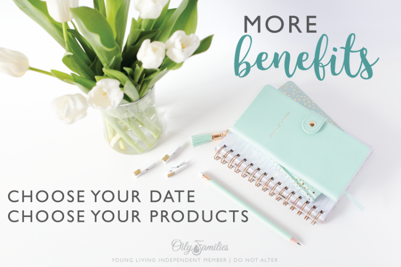 6. MORE BENEFITS The Essential Rewards autoship program puts YOU in control. Each month you have the ability to log into your Young Living Virtual Office (VO) and select the products you want to receive that month. There's no limit to the number of times you update your ER cart each month. If you forget to change your order, you will simply get the same order you got the previous month. You also get to select what date of the month you want your order to process. And, once again, you can change that date from month to month, if you want. Most of us find it simplest to just pick and stick with the same date each month. So far, what do you like best about the Essential Rewards program?
