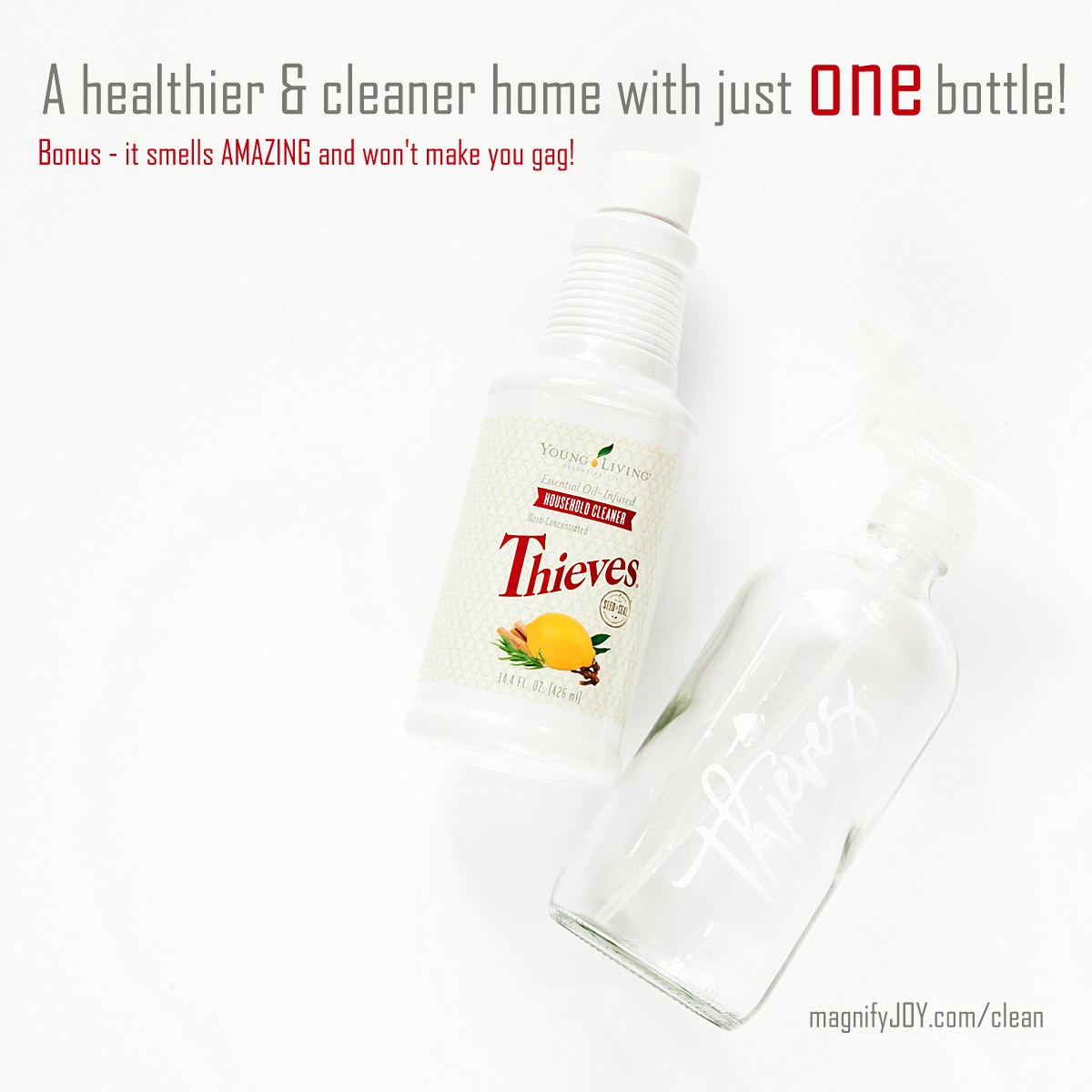 Thieves Household Cleaner Plant Based Healthier Non-Toxic Young Living MagnifyJOY