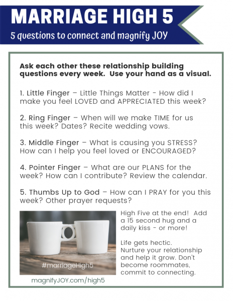 magnify JOY marriage high5 conversation starters for couples